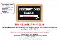Affiche inscription école 2020 2021